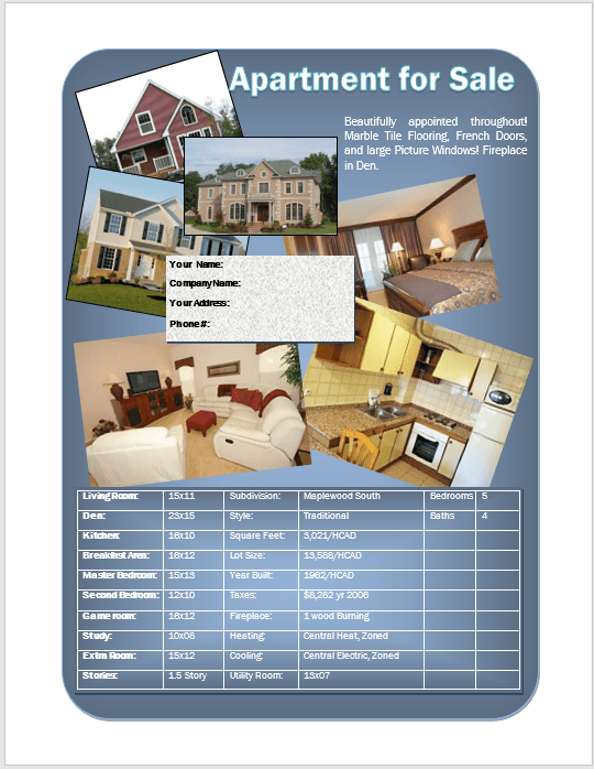 Apartment For Sale Flyer