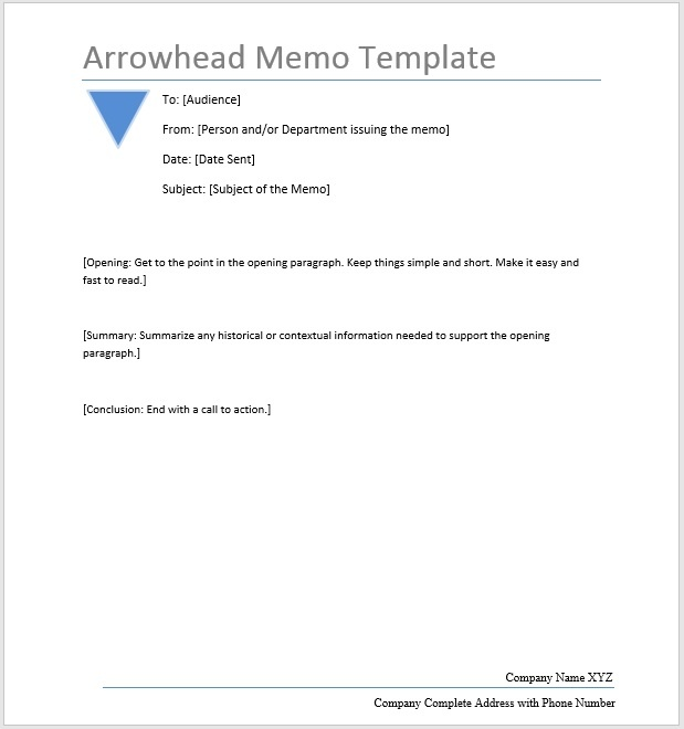 Arrowhead Memo  Word Template  Microsoft Word Templates