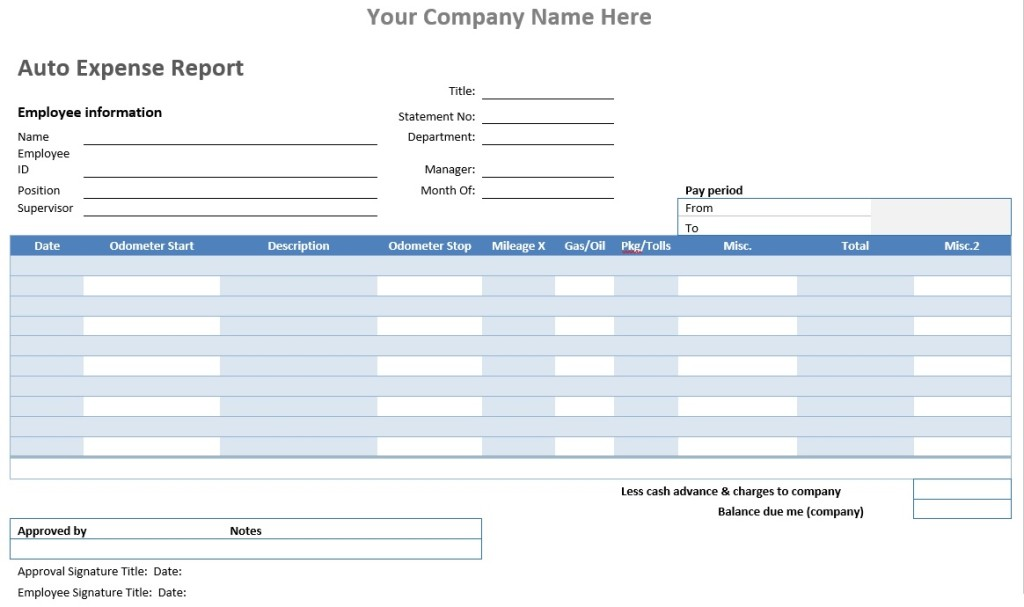 Auto Expense Report Template  Example Expense Report
