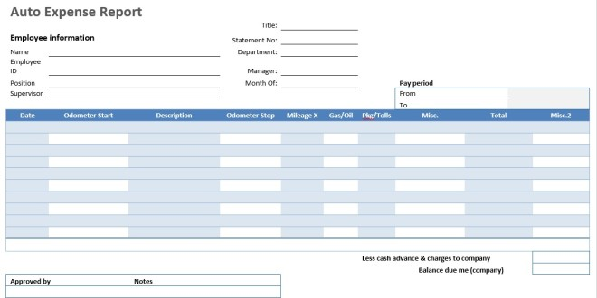 Auto Expense Report Word Template Microsoft Word Templates – Expense Report Templates