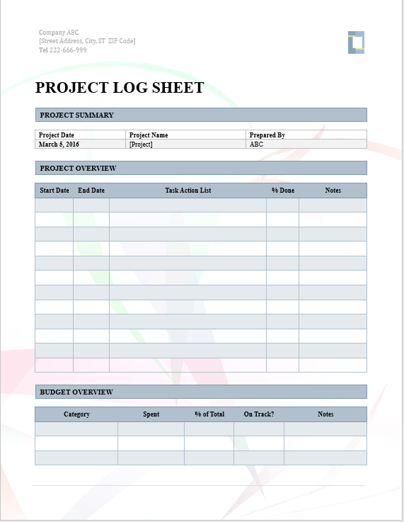 Project Log Sheet  Project Log Template