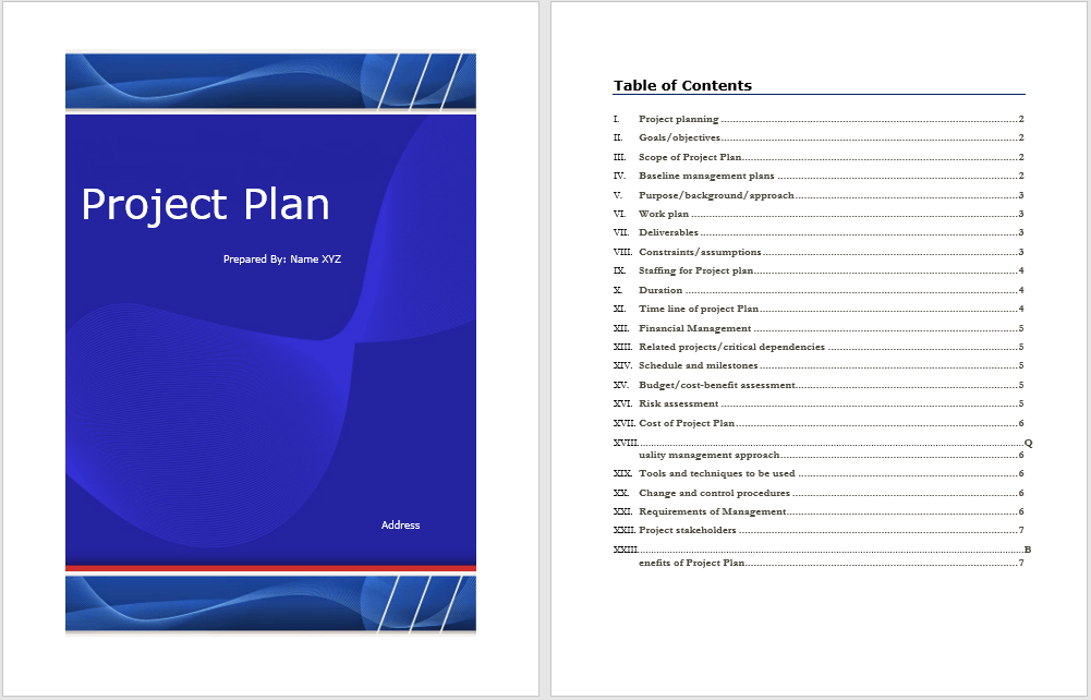 Project Plan Template 1  Project Plan Templates Word
