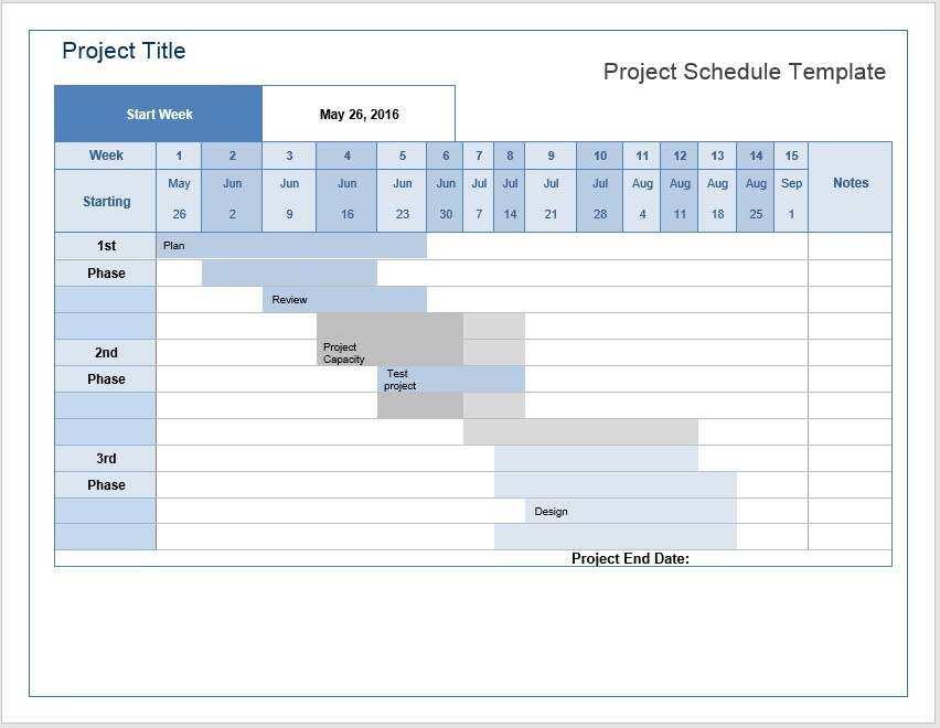 project schedule word template