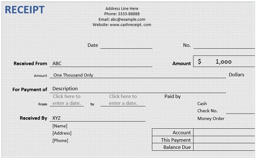 Cash Receipt – Word Template – Microsoft Word Templates
