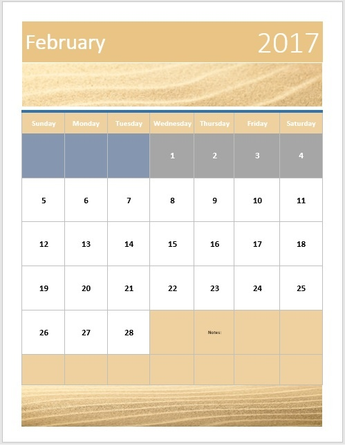 Portrait Sandy Brown Calendar Word Template Microsoft Word Templates