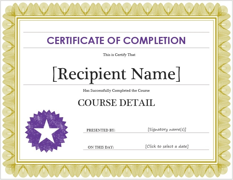 Free certificate of completion template microsoft word templates completion certificate template yelopaper Image collections