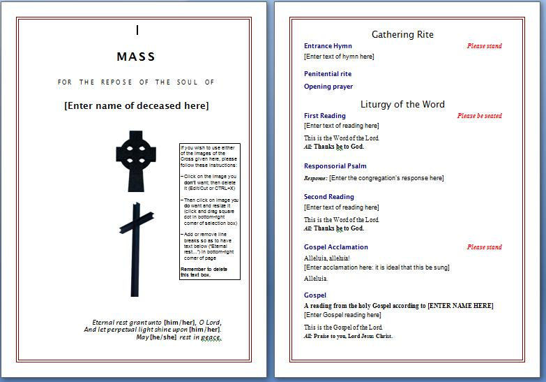 Free Funeral Program Template Microsoft Word Templates