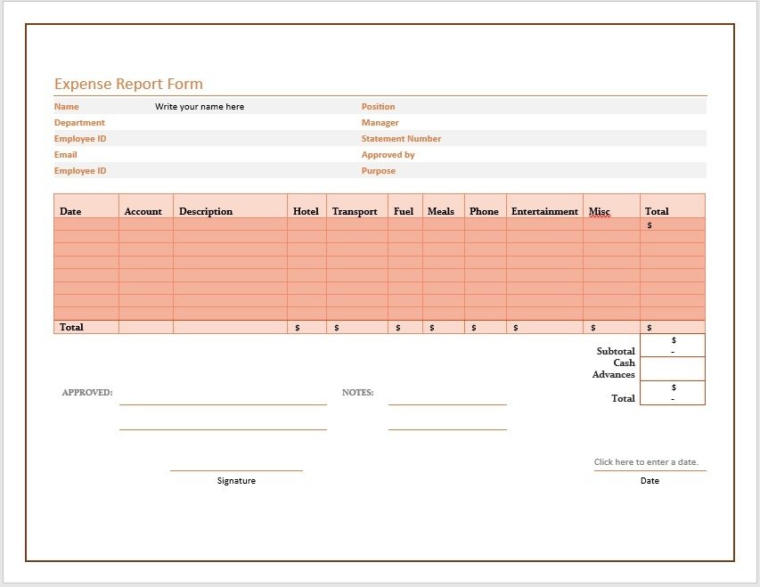 Free Expense Report Form  Microsoft Expense Report Template
