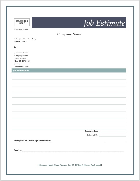 Job Estimate Form  Cost Estimate Template Word