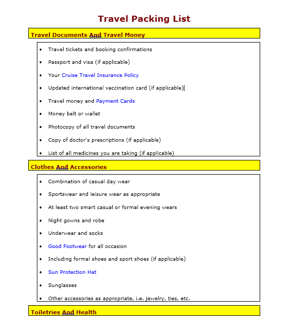 Packing List Template 04