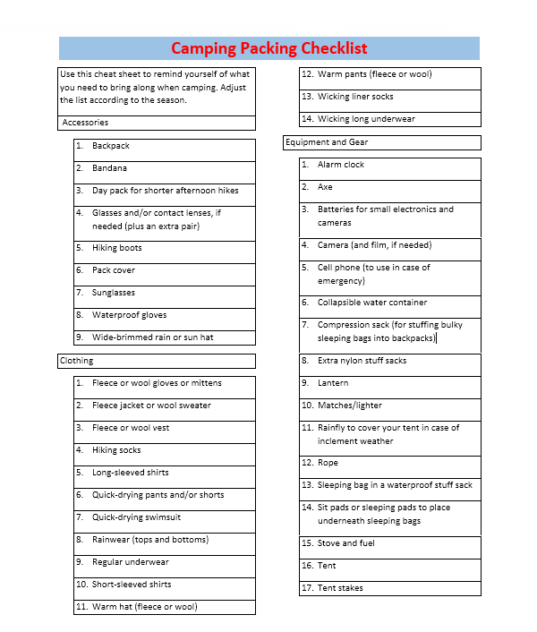 Packing List Template 05