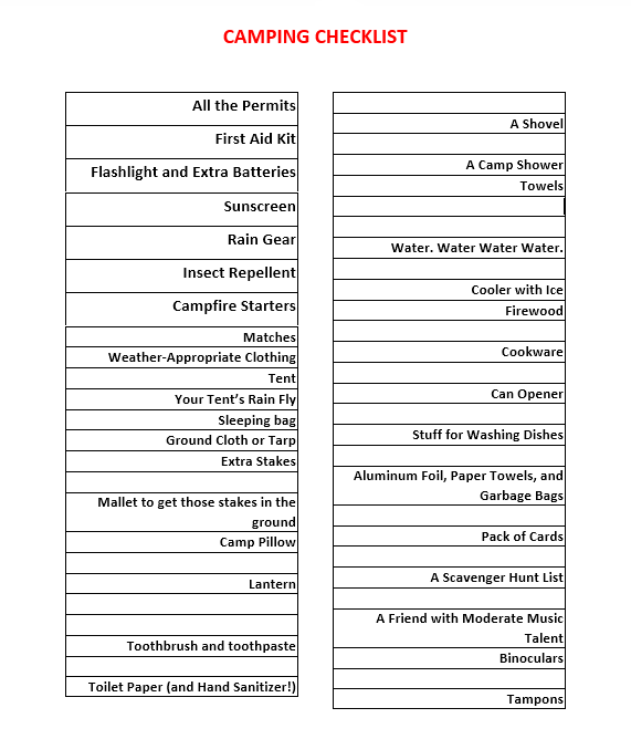 Packing List Template 06