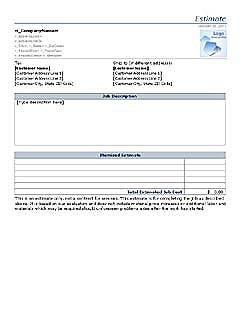 free job estimate form templates