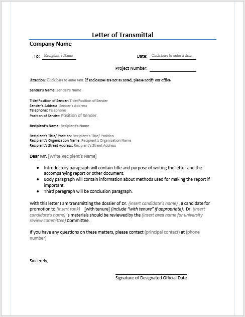 Letter of Transmittal Microsoft Word Templates – Sample of a Transmittal Letter
