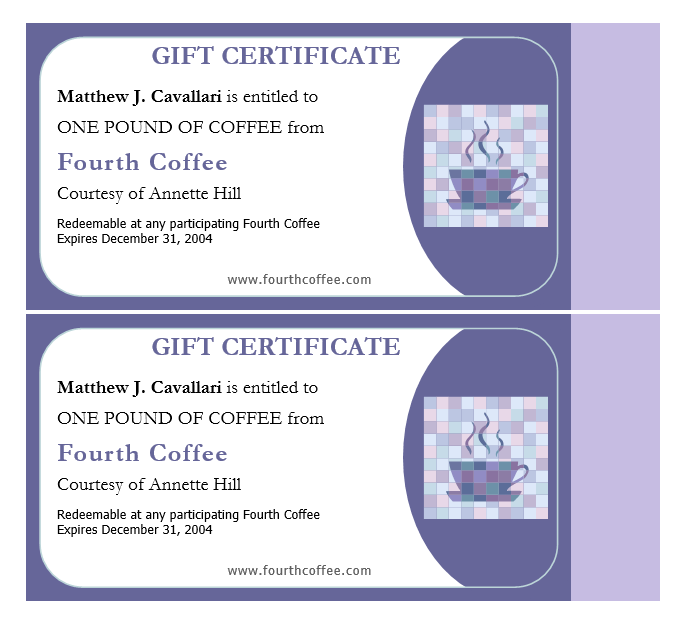 Coffee Gift Certificate Template  Gift Voucher Template For Word