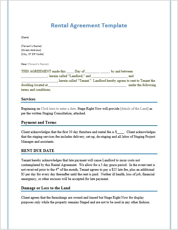 Rental Agreement Template  Microsoft Word Templates