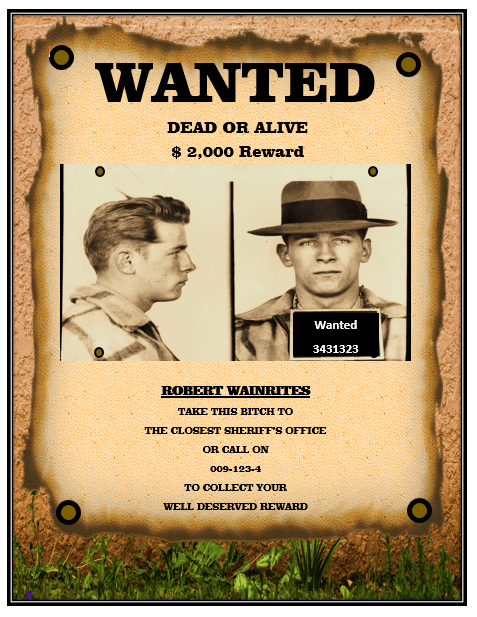 1920s wanted poster template free