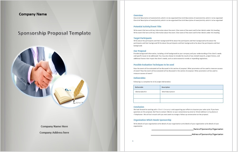 Sponsorship Proposal Template – Microsoft Word Templates