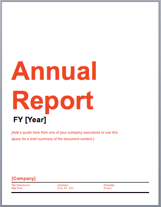 Sample Annual Report Free Report Templates