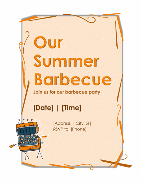 bbq party invitation template microsoft word templates. Black Bedroom Furniture Sets. Home Design Ideas