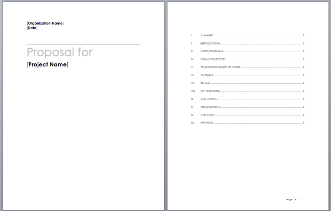 Microsoft word proposal template free download