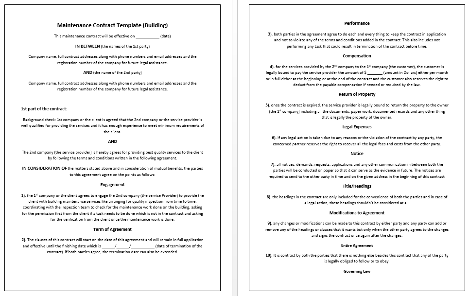 maintenance contract template. Resume Example. Resume CV Cover Letter