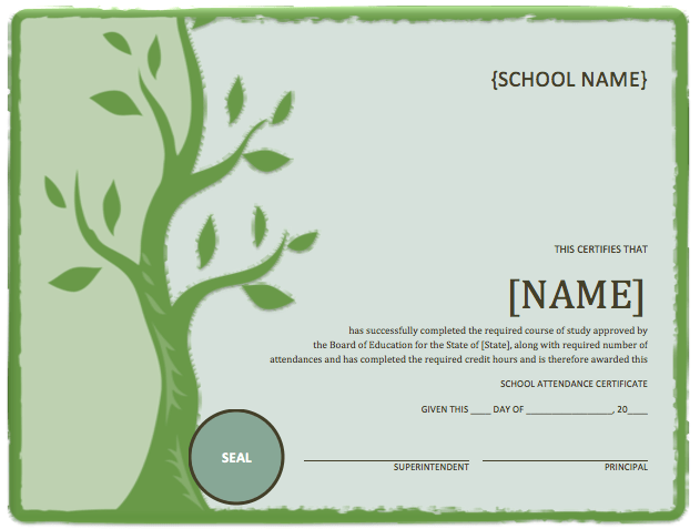 School attendance certificate template microsoft word for Ms office certificate template