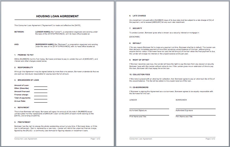 Housing Loan Contract Template  Microsoft Word Loan Agreement Template