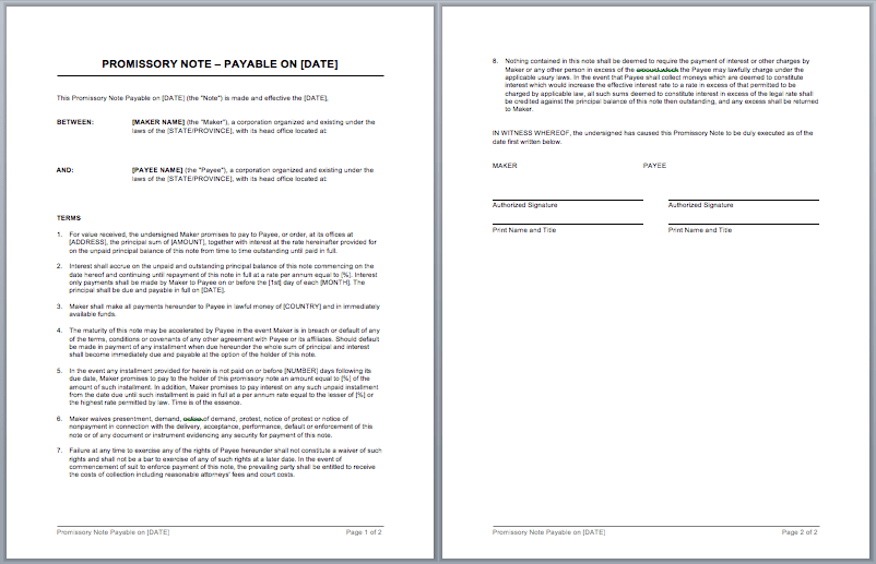 Promissory Note Template  Microsoft Word Legal Template