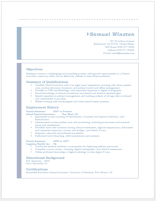 dental assistant resume - Resumes Templates Microsoft Word