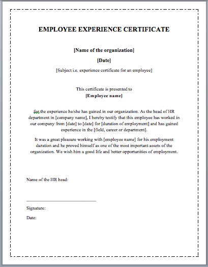 Employee Experience Certificate Template Microsoft Word Templates – Certificate Samples in Word Format