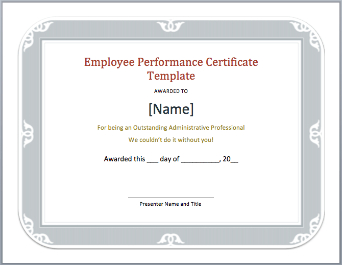 Employee Performance Certificate Template Microsoft Word Templates – Performance Certificate Template