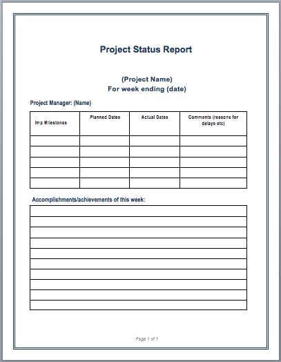 Project Status Report Template Microsoft Word Templates – A Report Template
