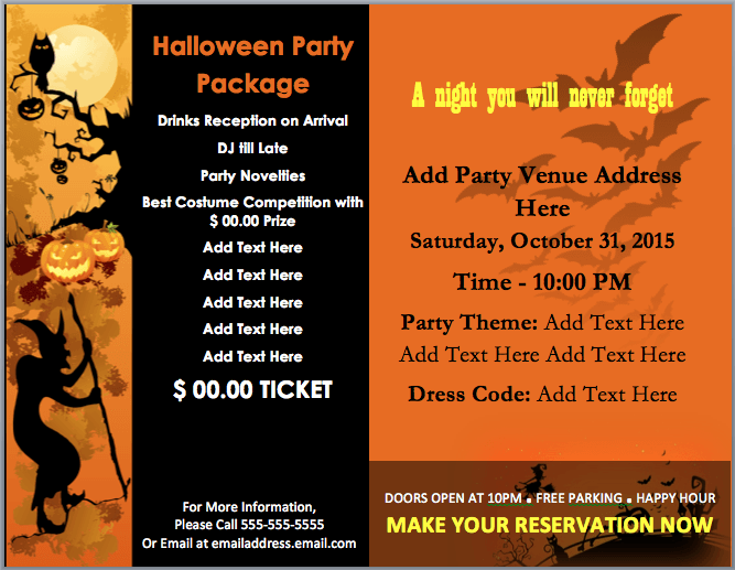 Halloween Party Invitation Template Microsoft Word Templates