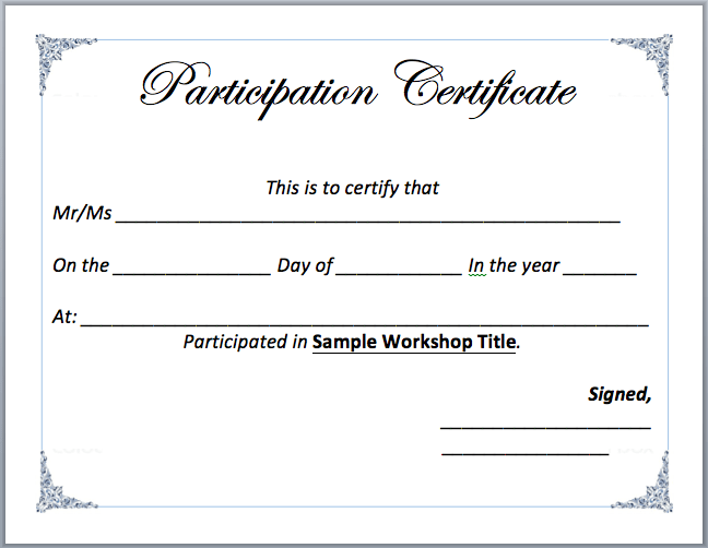 Certificate Of Participation Template Free Workshop Participation Certificate Template Microsoft Word Templates