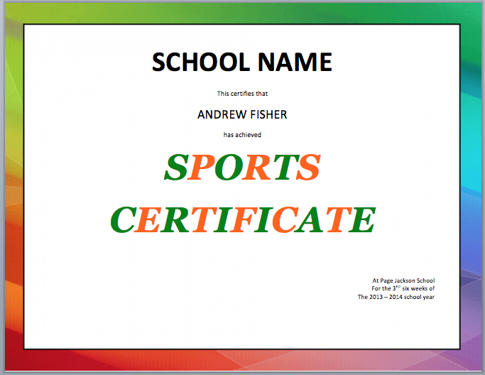 School Sports Ceritifcate Template