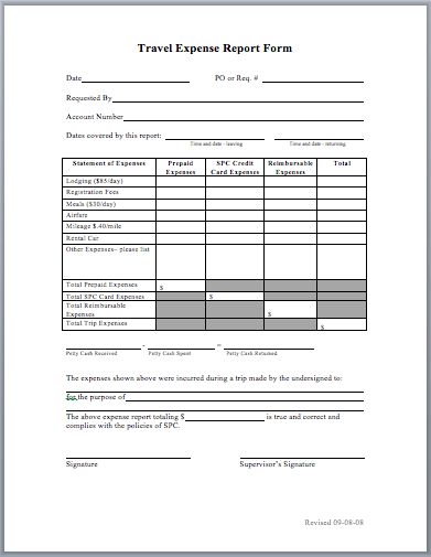 Travel Expense Report Template  Microsoft Expense Report Template