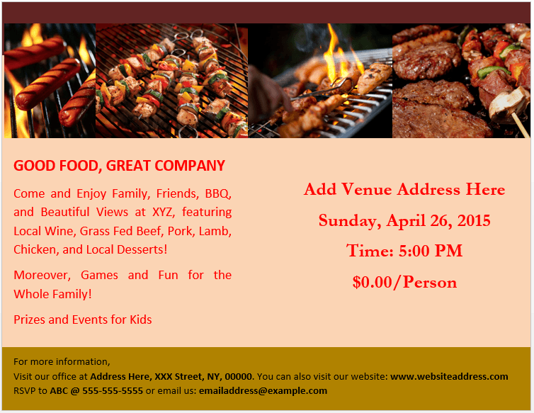 BBQ Party Brochure Template 2
