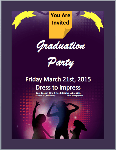 Graduation Party Invitation Flyer Template Microsoft Word Templates – Party Invitation Flyer