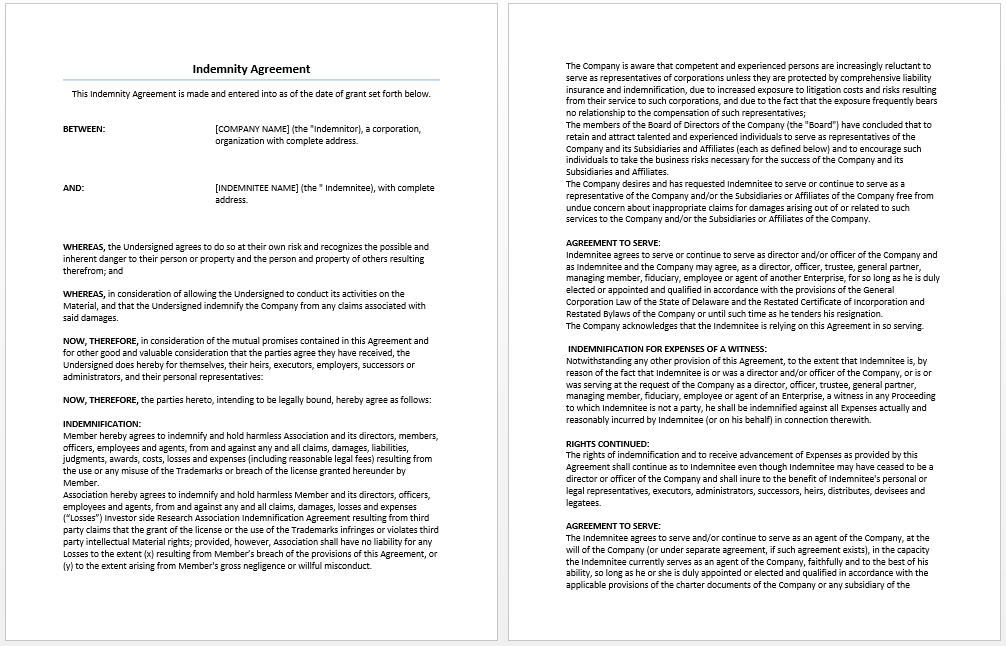 Indemnity agreement template microsoft word templates indemnity agreement template platinumwayz