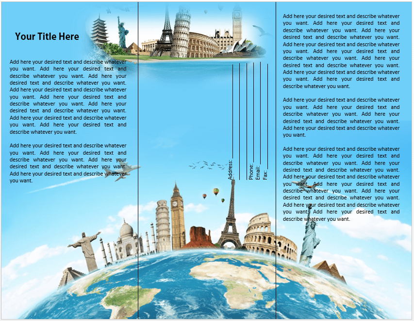 Travel or tourist brochure template microsoft word templates for Sample brochure design tourism