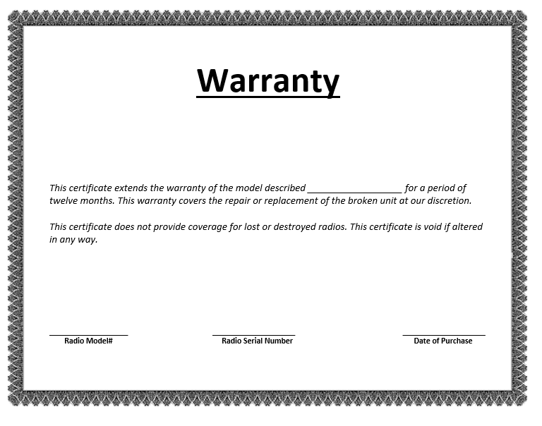Warranty certificate template microsoft word templates for Workmanship guarantee template