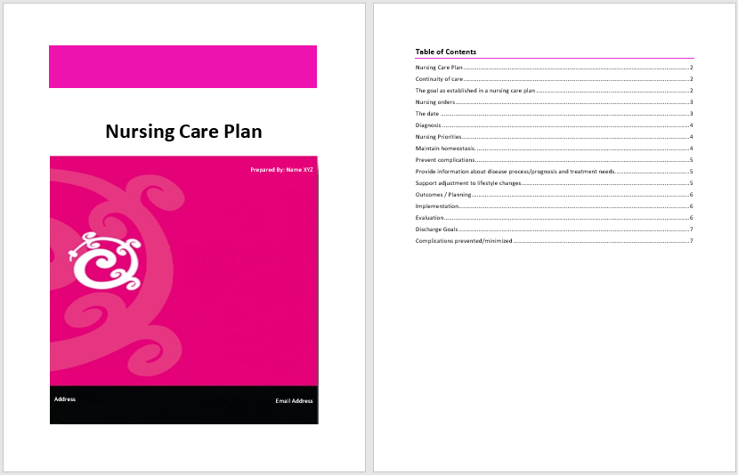 Nursing care plan template microsoft word templates for Nursing care plan template word