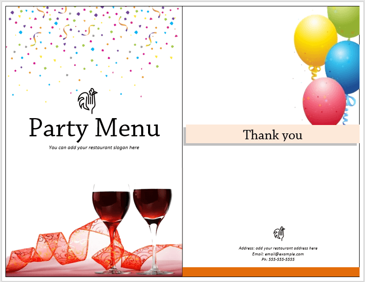 microsoft word party template menus
