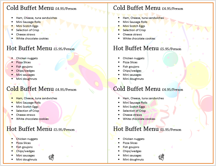 catering menu templates word - Ecza.solinf.co