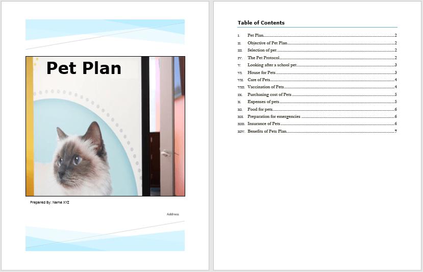 Pet Plan Template 1