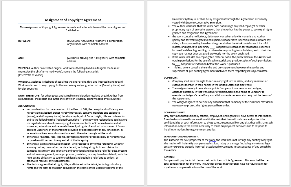 Assignment of Copyrights Agreement Template – Microsoft Word Templates