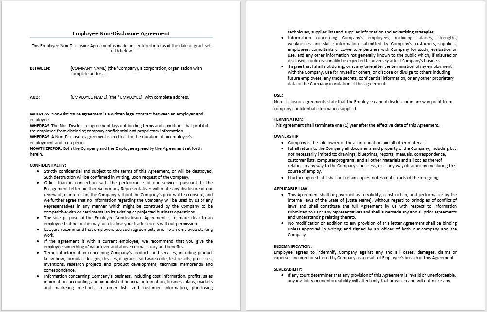 Non Disclosure Non Compete Agreement Template