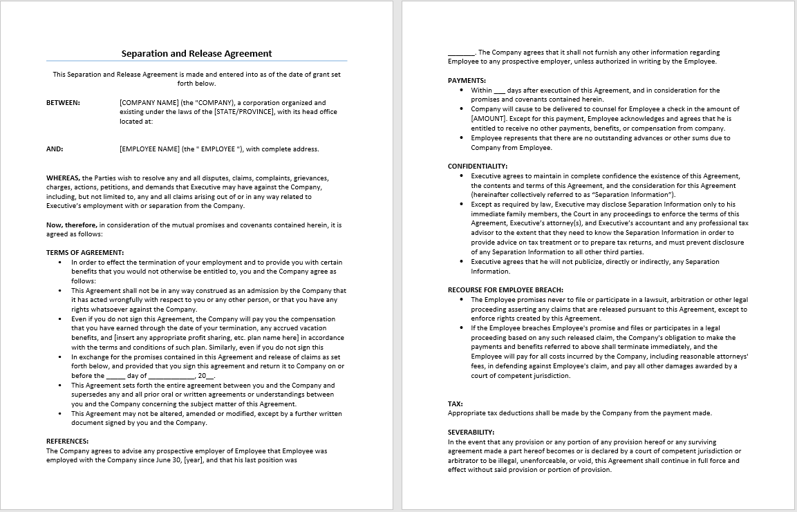 separation and release agreement template microsoft word templates