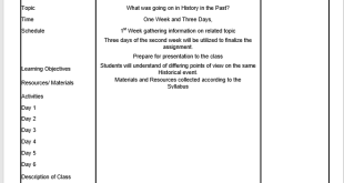 History Lesson Plan Template